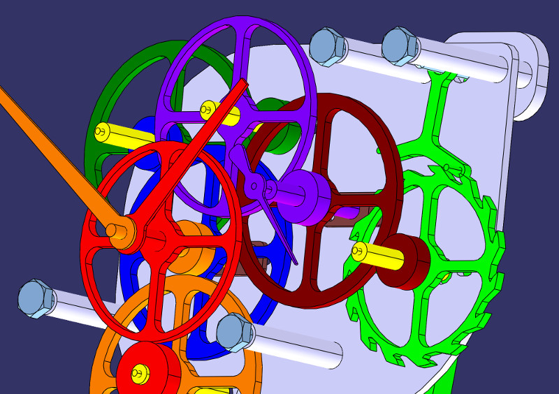 CAD model of the assembled mechanism (Catia V5)