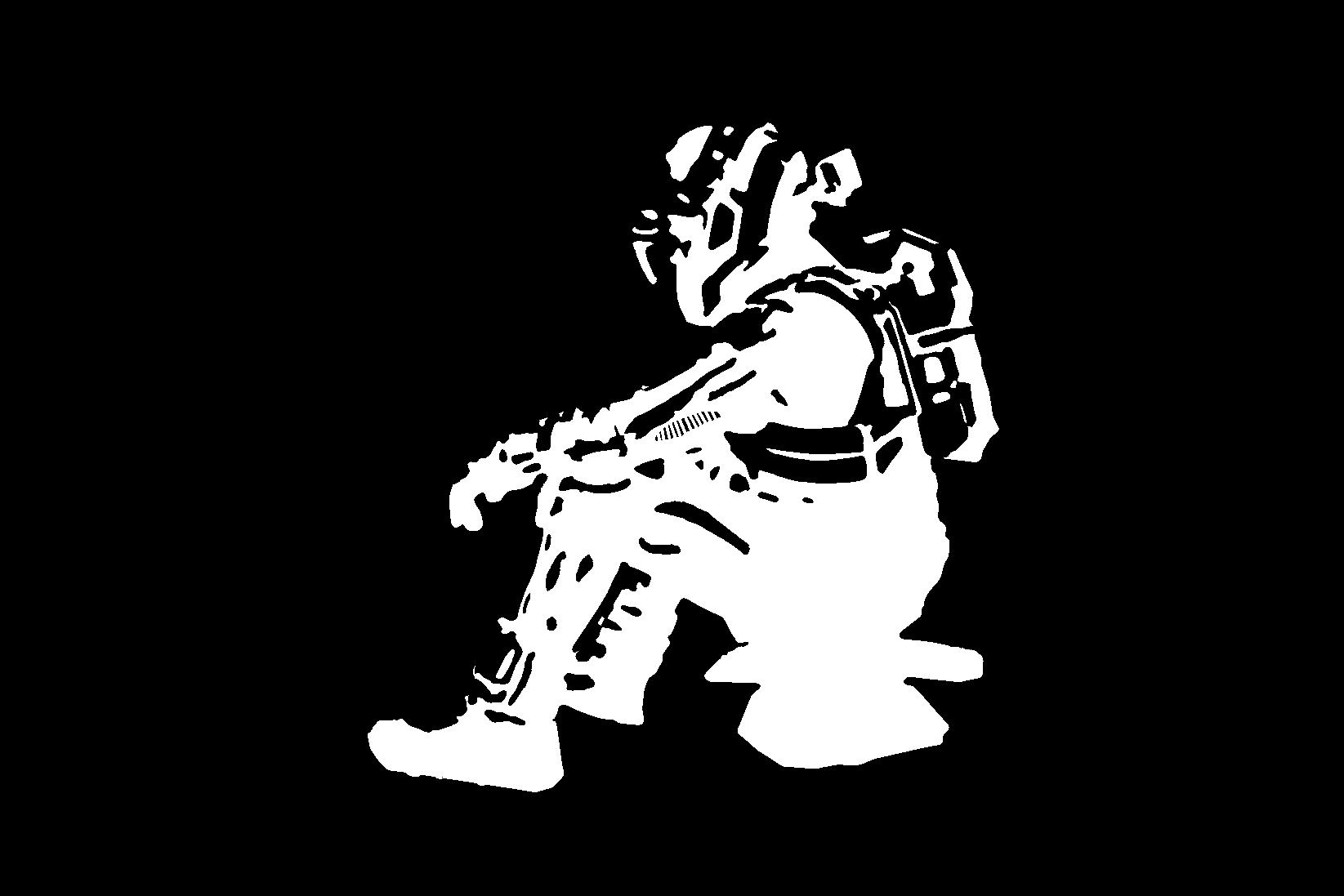 Couche de noir sans les croix de recalage. Il faut recaler l'image projetée sur la couche de blanc. Ici également on doit peindre dans la lumière